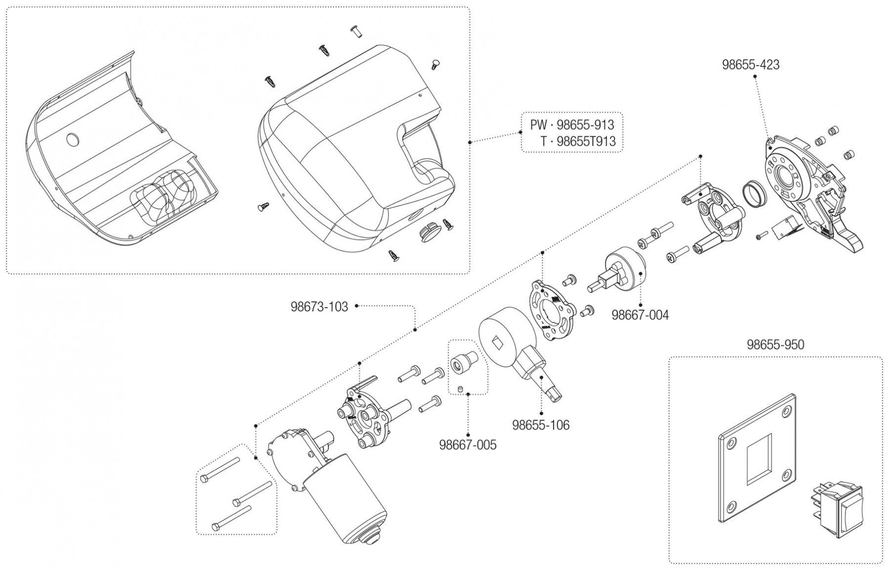 Motor Kit F65L Polar White / Titanium (05725-01- / 05725-01T)