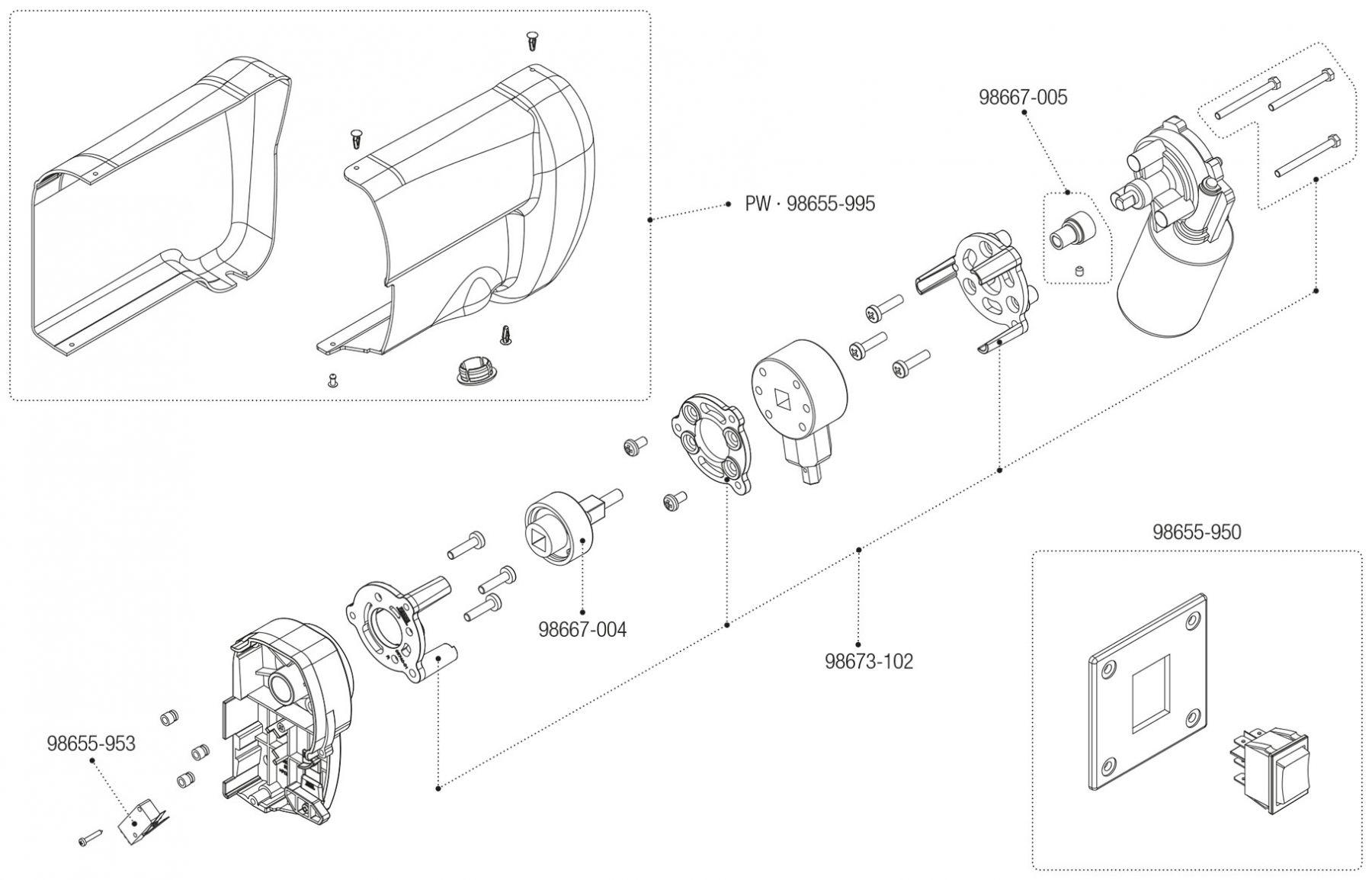 Motor Kit F45L Polar White / Titanium (06535-01- / 06535-01T)