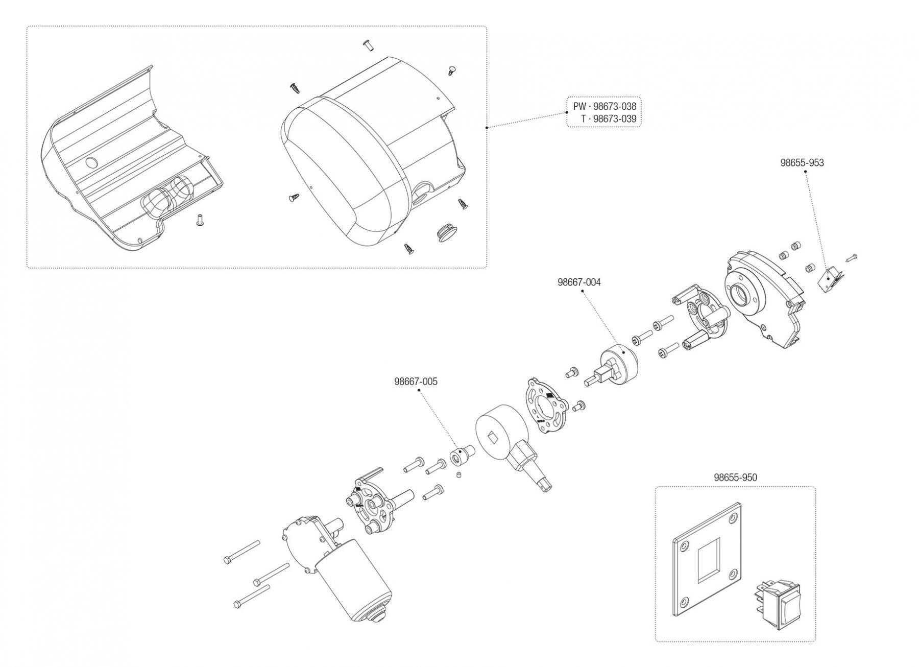 Motor Kit F65s Polar White / Titanium (06536-01- / 06536-01T)